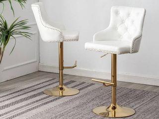 Best Master Furniture Adjustable Swivel Velvet Bar Stools with Gold Base  Set of 2