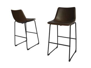 Best Quality Furniture Modern 29 inch Faux leather Bar Stool  Set of 2    Charcoal