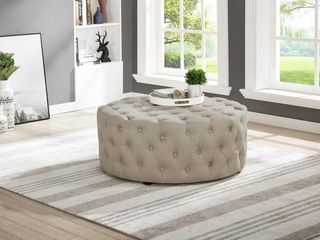 Best Master Furniture Upholstered 40 x 40 Round Tufted Accent Ottoman Coffee Table   Beige  linen