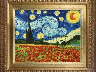 la Pastiche Original  Starry Poppy Collage  Hand Painted Oil Reproduction