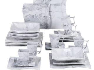 MAlACASA  Series Flora  Marble Ceramic Dinnerware Set For 6   Grey   30 Piece