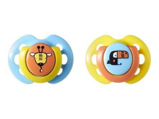 Tommee Tippee Closer to Nature Fun Pacifier  0 6 Months  2 Count  Colors May Vary