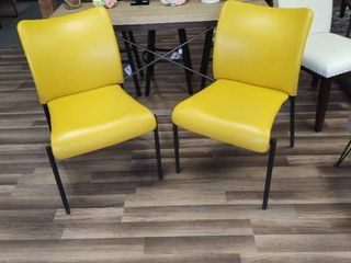 Pair of Mustard Colored Dining Chairs