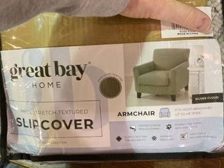 Armchair Slipcover fits most armchairs up to 48a wide   Silver Cloud