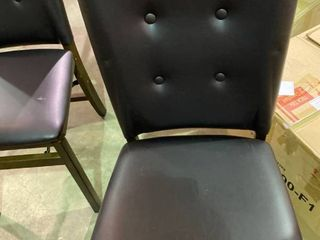 Folding Dining Chairs Set of 2    Brown leather   Damage on back   As Is