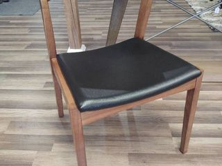 Single Wood Dining Chair with Black Seat
