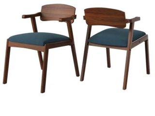 Carson Carrington Comiskey Cherry Finish Arm Dining Chair with Back  Set of 2    Blue RETAIl  169
