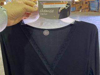 l Xl Secret Treasures Maternity Nursing Chemise Wrap Front Black