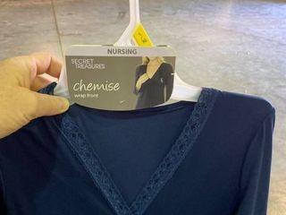 l Xl Secret Treasures Maternity Nursing Chemise Wrap Front Blue