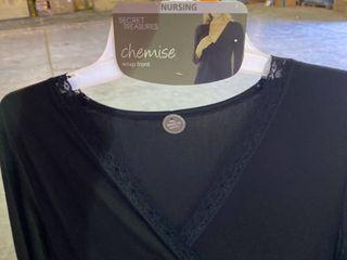 M l Secret Treasures Maternity Nursing Chemise Wrap Front Black