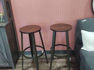 Set of 2   30  Metal Bar Stool with Wood Top
