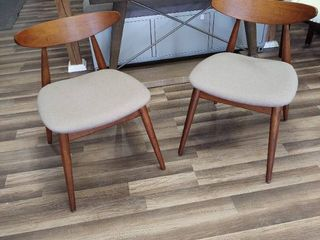 Two Dining Chairs   Brown Wood with Tan Seats