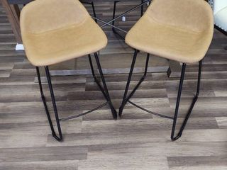 Pair of 24  Bar Stools with black metal frames and camel skin seats