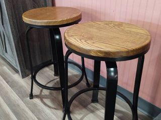Pair of 24  Metal Bar Stools with Swivel Wood tops