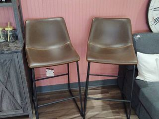 Set of 28  Bar Stools with black metal frames and dark brown seats