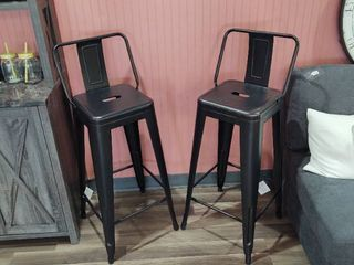Pair of 30  Metal Bar Stools with slightly brushing to metal by design