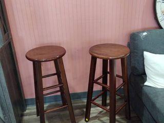 Pair of 28  All wood bar stools