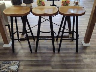 Set of 5   30  Bar Stools with black metal frames and light colored wood seats