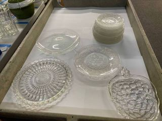 Stack of Glass Serving Platters and Plates