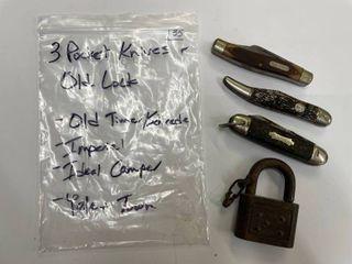 3  Pocket Knives and Old lock