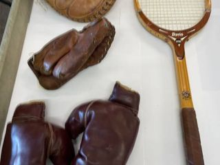 2  Vintage Baseball Gloves  amp   1 Vintage Tennis Racket   1  pair children s boxing gloves