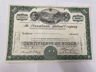 1964 Pennsylvania Railroad Stock Certificate includes vignette of 2 trains passing on a hillside