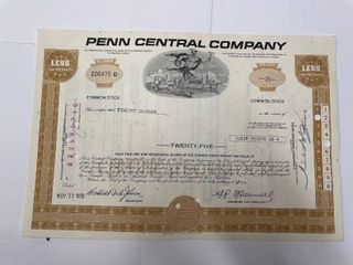 1970 Penn Central Company Stock Certificate  Vignettes featuring muti modes of transportation