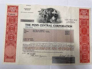 1982 Stock Certificate for the Penn Central Corporation