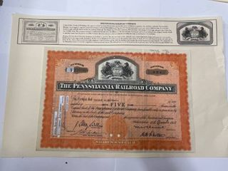 Stock Certificate for the Pennsylvania Railroad Company dated 1947