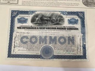 Stock Certificate for the Pittsburgh  amp  West Virginia Railway Company dated 1948 with locomotive vignette