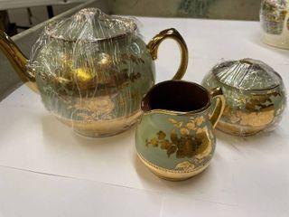 Sadler Teapot  Pattern 1556  Green and Gold  w  Creamer  amp  Sugar