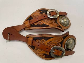 JP Chumbley Hand Tooled Spur Straps  1