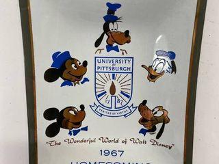 1967 University of Pittsburgh Homecoming Glass Walt Disney Tray