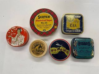 lot of  6  small tins