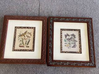 Vintage framed moth and butterfly prints