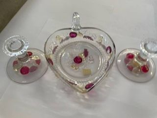 Apple Grapes Cheese motif tray and candle sticks