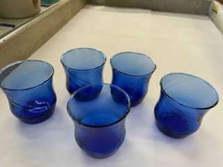 Set of  5  Blue Juice Glasses