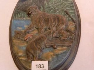 Bear Wildlife Placque  9 5  x 15 5