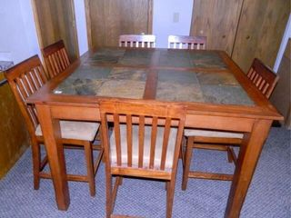 Bar Height Table   6 Chairs