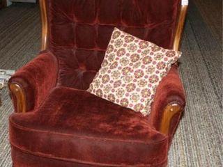 Red Velvet Rocking Chair