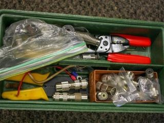 Green Plastic Storage Box with Electrical tools