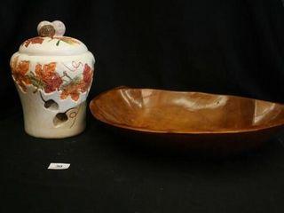 Fall Cookie Jar  Woode Bowl