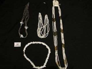 Silver and White Necklaces
