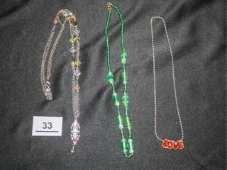 Decorative Necklaces  Silver  Green