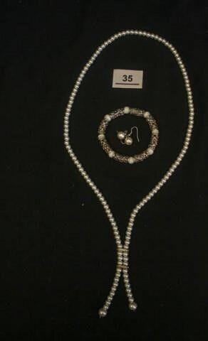 Pearl look Necklace earrings  Bracelet