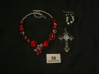 Red Silver Costume Jewelry  Cross