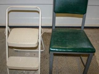 Green Metal Chair and Folding Step Stool