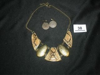 Gold and Snake Skin Necklace