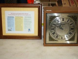 Wood like clock  Religious framed print