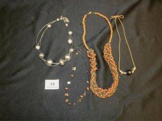 Brown tone and wooden necklaces